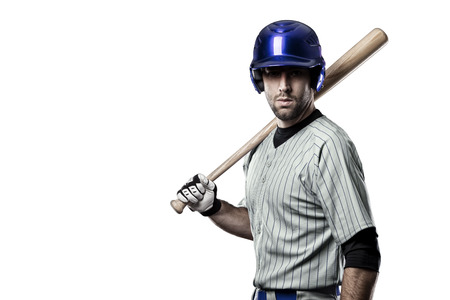 Baseball Player in a blue uniform, on a white background.
