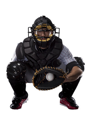 Catcher Baseball Player, on a white background. Stock Photo