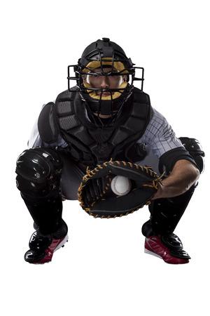 baseball bat: Catcher Baseball Player, on a white background. Stock Photo