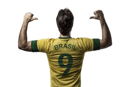 Brazilian soccer player, celebrating on a white background.