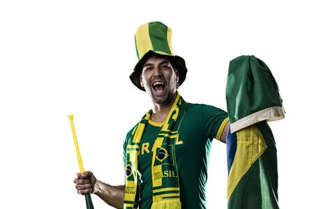 Brazilian Fan Celebrating, on a white .