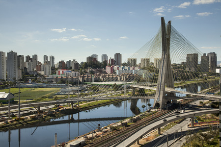 Sunset over Octavio Frias Oliveira Bridge - Sao Paulo - Brazil Editorial