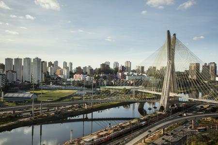bridge: Sunset over Octavio Frias Oliveira Bridge - Sao Paulo - Brazil Stock Photo