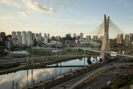 Sunset over Octavio Frias Oliveira Bridge - Sao Paulo - Brazil photo