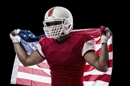 player: Football Player with a red uniform and a american flag, on a Black background.