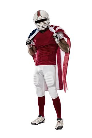 jugador de futbol: Jugador de f�tbol con un uniforme rojo y una bandera americana, sobre un fondo blanco.