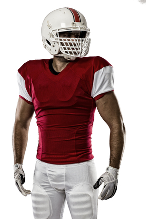 jugador de futbol: Jugador de f�tbol con un uniforme rojo sobre un fondo blanco.