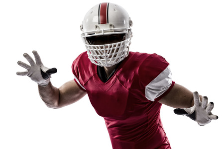 football tackle: Football Player with a red uniform making a tackle on a white background.