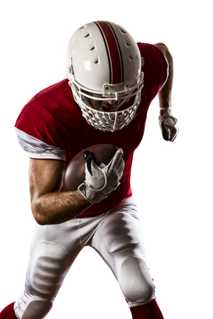 player: Football Player with a red uniform Running on a white background.