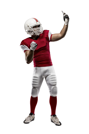 football tackle: Football Player with a red uniform making a selfie on a white background.