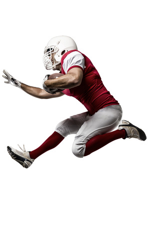 Football Player with a red uniform Running on a white background.