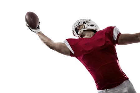 Fußball-Spieler mit einer roten Uniform, einen Fang auf weißem Hintergrund. Standard-Bild - 35219415