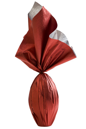 Brazilian Easters egg , wrapped in red paper, on a white background.
