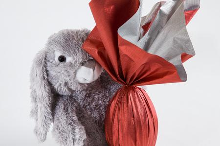 osterei: Ein Pl�sch Kaninchen, die eine brasilianische Ostern Ei, auf einem wei�en Hintergrund.