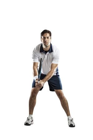 jugando tenis: Jugador de tenis sobre un fondo blanco.