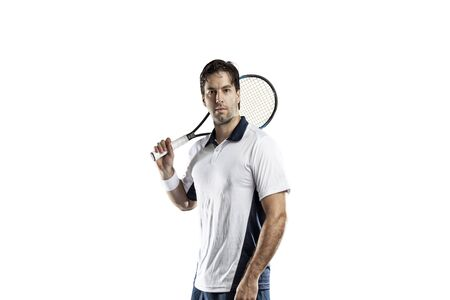 tennis stadium: Tennis player on a white background. Stock Photo