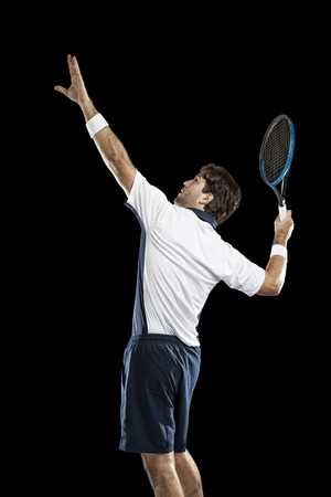 individual sport: Tennis player playing on a black background.