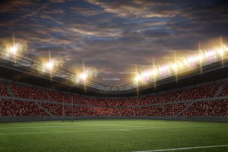 Rugby ball: Estadio de Rugby con los aficionados que vestían uniformes de color rojo