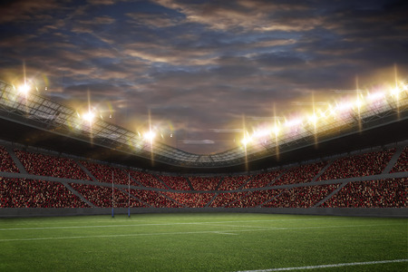 rugby field: Rugby Stadium with fans wearing red uniforms