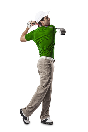 Golf Player in a green shirt taking a swing, on a white Background.