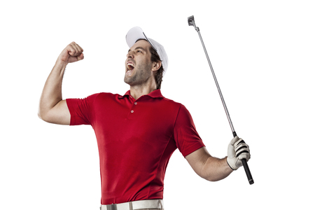 Golf Player in a red shirt celebrating, on a white Background. Stock Photo