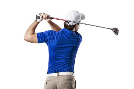 Golf Player in a blue shirt taking a swing, on a white Background. Standard-Bild