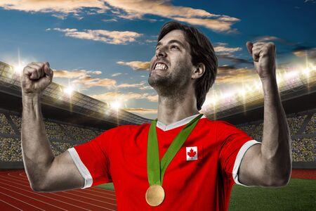 Canadian Athlete Winning a golden medal on a Track and field stadium.