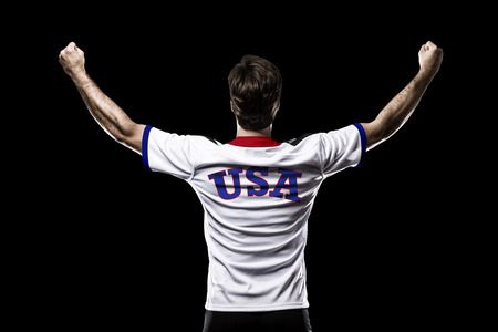 nationalistic: American Athlete on a black Background.