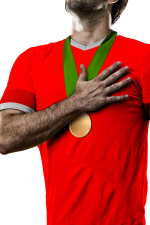 canadian football: Canadian Athlete Winning a golden medal on a white Background.