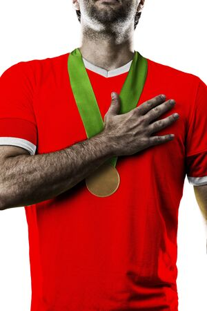 Canadian Athlete Winning a golden medal on a white Background.