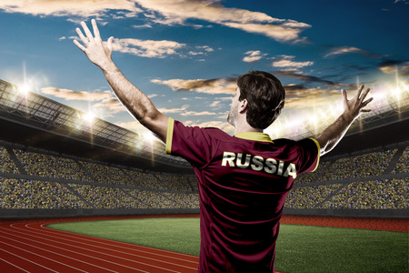 nationalistic: Russian Athlete on a Track and field stadium.