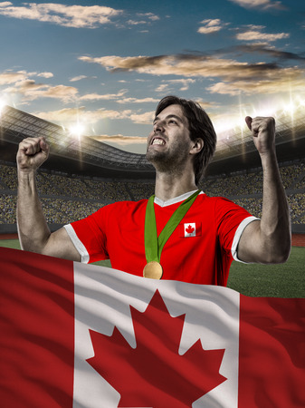 Canadian Athlete Winning a golden medal with a Canadian flag in front.