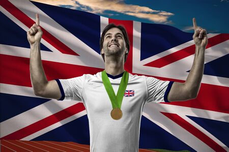 British Athlete Winning a golden medal in front of a British flag.
