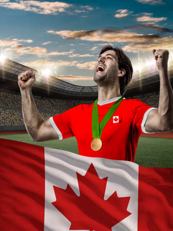 canadian football: Canadian Athlete Winning a golden medal with a Canadian flag in front.