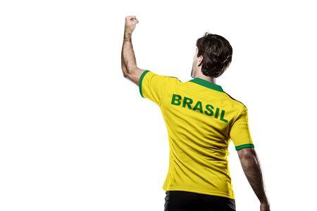 Brazilian Athlete on a white Background. Stock Photo