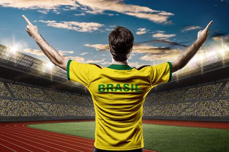 Brazilian Athlete on a Track and field stadium. Stock Photo