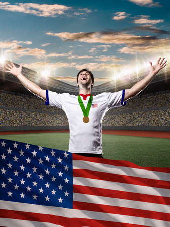 nationalistic: American Athlete Winning a golden medal with a american flag in front.