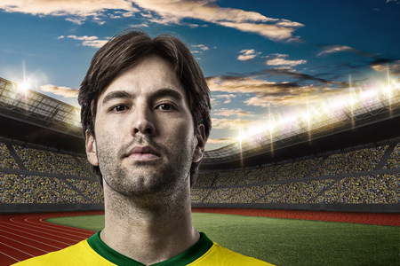 Brazilian Athlete on a Track and field stadium. Stock Photo