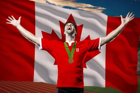 Canadian Athlete Winning a golden medal in front of a Canadian flag.