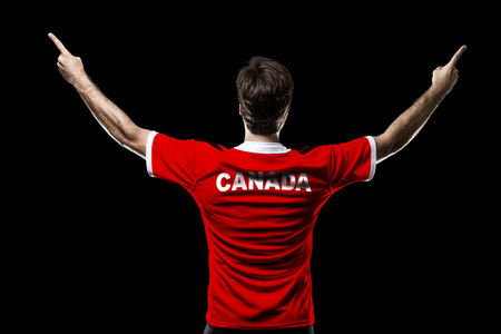 Canadian Athlete on a black Background. Stock Photo