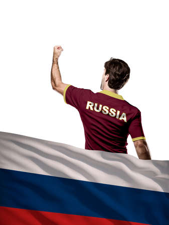 Russian Athlete with a russian flag in front.