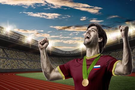 Russian Athlete Winning a golden medal on a Track and field stadium.