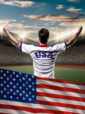 American Athlete with a american flag in front.