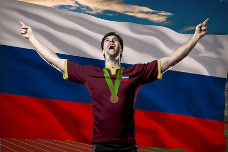 Russian Athlete Winning a golden medal in front of a Russian flag.