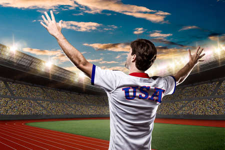 American athlete on a Track and field stadium.