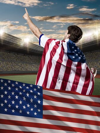 nationalistic: American Athlete with a american flag in front.