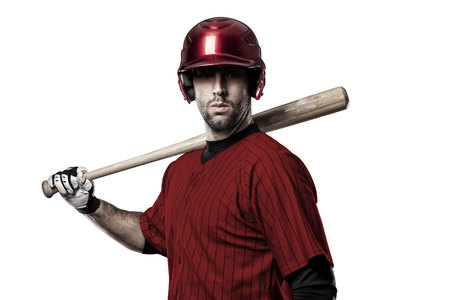 Baseball Player with a red uniform on a white background.
