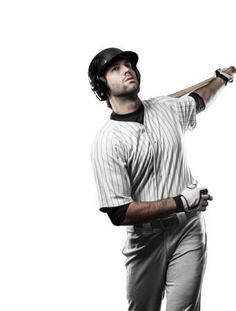 tough man: Baseball Player with a white uniform on a white background.