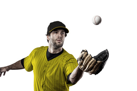 tough man: Baseball Player with a yellow uniform on a white background.