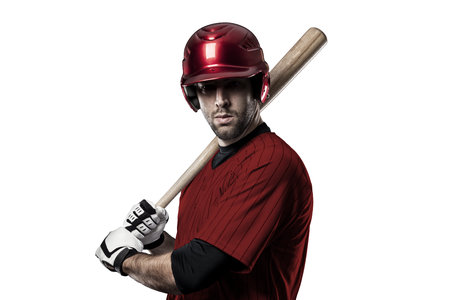 toughness: Baseball Player with a red uniform on white background.